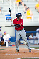 Rainis Silva (20) of the Elizabethton Twins at bat against the Kingsport Mets at Hunter Wright Stadium on July 9, 2015 in Kingsport, Tennessee.  The Twins defeated the Mets 9-7 in 11 innings. (Brian Westerholt/Four Seam Images)