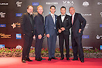 Jeremy Renner (second from right) during the Red Carpet event at the World Celebrity Pro-Am 2016 Mission Hills China Golf Tournament on 20 October 2016, in Haikou, China. Photo by Weixiang Lim / Power Sport Images