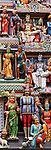 Sri Mariamman Temple 03 - Painted figures on the entrance gopuram tower, Sri Mariamman Temple, South Bridge Road, Chinatown, Singapore
