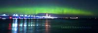 Mackinac Bridge, Aurora, Northern Lights, Panorama