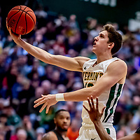18 December 2019: University of Vermont Catamount Forward Bailey Patella, a Junior from Lenox, MA, goes for a layup in first half action against the UNC Greensboro Spartans at Patrick Gymnasium in Burlington, Vermont. The Spartans edged out the Catamounts 54-53 in the final minutes of play. Mandatory Credit: Ed Wolfstein Photo *** RAW (NEF) Image File Available ***