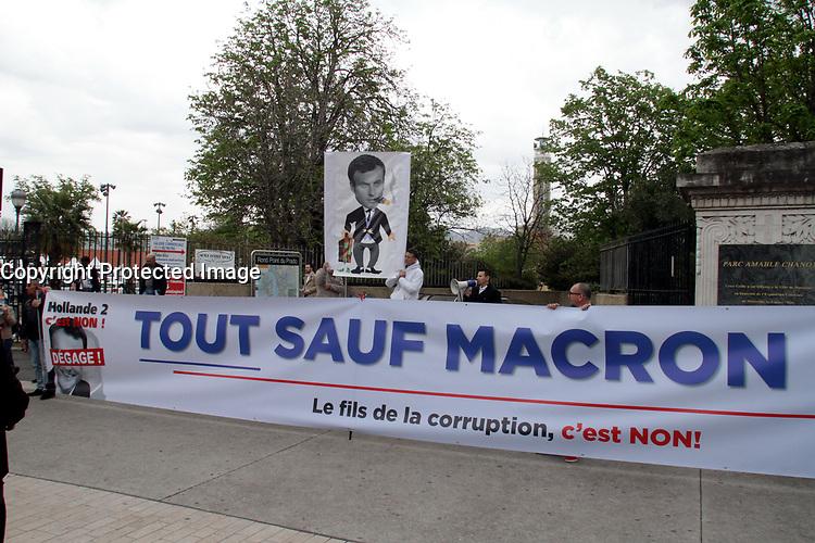 Manifestation contre le Meeting d'Emmanuel Macron au Parc Chanot à Marseille, le 1er avril 2017
