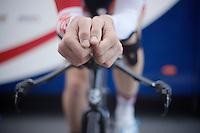 Adam Hansen (AUS) warms up before his ITT<br /> <br /> Tour de France 2013<br /> stage 11: iTT Avranches - Mont Saint-Michel <br /> 33km