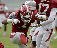 Arkansas defensive back Jalen Catalon celebrates a tackle Saturday, April 3, 2021, during a scrimmage at Razorback Stadium in Fayetteville. Visit nwaonline.com/210404Daily/ for today's photo gallery. <br /> (NWA Democrat-Gazette/Andy Shupe)