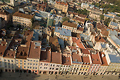 Aerial view of the 17th and 18th century buildings in and around the Ploshka Rynok (Market Square) in the centre of Lviv.