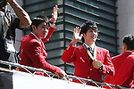 (L-R)<br /> Kohei Uchimura, <br /> Ryohei Kato (JPN), <br /> OCTOBER 7, 2016 :<br /> Japanese medalists of Rio 2016 Olympic and Paralympic Games wave to spectators during a parade from Ginza to Nihonbashi, Tokyo, Japan.<br /> (Photo by Shingo Ito/AFLO)