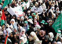"Hamas Palestinian women supporters attend a protest calling for an end to Israeli sanctions on Gaza February 23, 2008.""photo by Fady Adwan"""