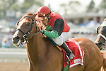08-07-10: A Unique Treasure, Elvis Trujillo up, wins the My Frenchman Stakes.