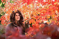 BNPS.co.uk (01202) 558833. <br /> Pic: CorinMesser/BNPS<br /> <br /> Pictured: Laura Mackonochie admires the colours of the acer palatum omureyama trees. <br /> <br /> Amazing autumn... <br /> <br /> Specialist growers of Japanese maple trees Barthelemy & Co have well and truly seen autumn arrive at their business in Stapehill near Wimborne Dorset.