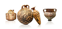 Minoan pottery with stylised octopus decorations, 1500-1400 BC, Heraklion Archaeological Museum, white background.  <br /> <br /> From Left to right<br /> 1- Pseudostomos jug from Knossos-Venizeleio 1300-1200 BC, <br /> 2- flask with Marine style stylised octopus design,   Palaikastro,  1500-1450 BC; <br /> 3- conical rhython with Marine style stylised octopus design,   Palaikastro 1500-1450 BC; <br /> 5- far right Krater Episkopi Lerapetra 1370-1250 BC,