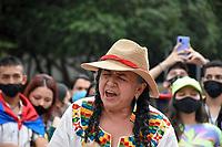 ARMENIA - COLOMBIA, 06-05-2021: Cientos de personas se congregaron el centro de la ciudad de Armenia hoy, 06 mayo de 2021, durante el noveno día de protestas del Paro Nacional convocado por la reforma tributaria y de la salud que adelanta el gobierno de Ivan Duque además de la precaria situación social y económica que vive Colombia. Durante la tarde hubo diferentes actividades como música, bailes y un homenaje a las personas que han fallecido. El paro fue convocado por sindicatos, organizaciones sociales, estudiantes y la oposición y sumando el día del trabajo lleva 5 días de marchas y protestas. / Hundreds of people gathered in the center of the city of Armenia today, May 06, 2021, during the ninth day of protests of the National Strike called for the tax and health reform carried out by the government of Ivan Duque in addition to the precarious social situation and economic that Colombia lives. During the afternoon there were different activities such as music, dances and a tribute to the people who have passed away. The strike was called by unions, social organizations, students and the opposition and adding up to Labor Day it has been 5 days of marches and protests. Photo: VizzorImage / Santiago Castro / Cont