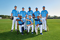 Tampa Bay Rays (Standing L-R) Matthew Liberatore, Brendan McKay, Jesus Sanchez, Ronaldo Hernandez, Josh Lowe, (Kneeling L-R) Vidal Brujan, Brandon Lowe, and Wander Franco during a Baseball America Photo Shoot on March 9, 2019 at Charlotte Sports Park in Port Charlotte, Florida.  (Mike Janes/Four Seam Images)