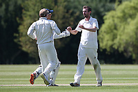 A Smith of Billericay celebrates with his team mates after taking the wicket of M Irfan during Billericay CC vs Hornchurch CC (batting), Hamro Foundation Essex League Cricket at the Toby Howe Cricket Ground on 12th June 2021