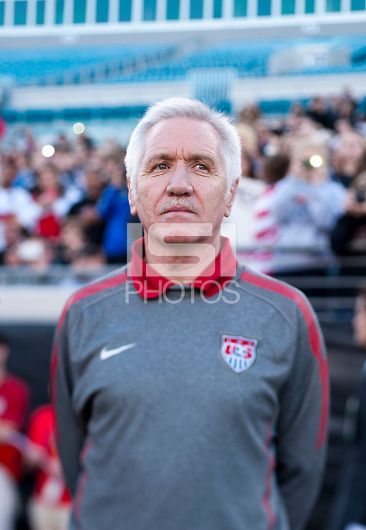USWNT head coach Tom Sermanni watches his team before the game at EverBank Field in Jacksonville, Florida.  The USWNT defeated Scotland, 4-1.