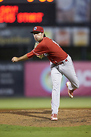 Lakewood BlueClaws relief pitcher Jonathan Hennigan (18) follows through on his delivery against the Kannapolis Intimidators at Kannapolis Intimidators Stadium on July 7, 2018 in Kannapolis, North Carolina. The Intimidators defeated the BlueClaws 4-3 in 10 innings.  (Brian Westerholt/Four Seam Images)