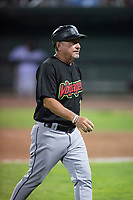 Great Falls Voyagers manager Tim Esmay (10) during a Pioneer League game against the Idaho Falls Chukars at Melaleuca Field on August 18, 2018 in Idaho Falls, Idaho. The Idaho Falls Chukars defeated the Great Falls Voyagers by a score of 6-5. (Zachary Lucy/Four Seam Images)