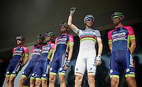 World Champion Rui Costa (POR/Lampre-Merida) and teammates on the start podium<br /> <br /> La Flèche Wallonne 2014