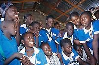 Gambia. Coconut island  on the Atlantic ocean. School children.  © 2000 Didier Ruef