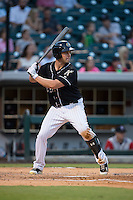 Matt Davidson (22) of the Charlotte Knights at bat against the Gwinnett Braves at BB&T BallPark on August 11, 2015 in Charlotte, North Carolina.  The Knights defeated the Braves 3-2.  (Brian Westerholt/Four Seam Images)
