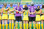 The Hague, Netherlands, June 09: Players of Australia line up prior to the field hockey group match (Women - Group A) between England and Argentina on June 9, 2014 during the World Cup 2014 at Kyocera Stadium in The Hague, Netherlands. Final score 0-0 (0-0)  (Photo by Dirk Markgraf / www.265-images.com) *** Local caption ***
