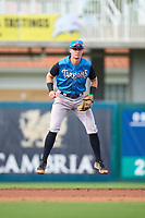 Tampa Tarpons shortstop Trey Sweeney (4) during a game against the Fort Myers Mighty Mussels on September 18, 2021 at Hammond Stadium in Fort Myers, Florida.  (Mike Janes/Four Seam Images)