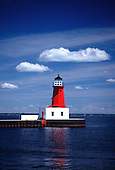 Menominee Pierhead lighthouse on Lake Michigan in the Upper Peninsula of Michigan.