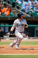 Biloxi Shuckers second baseman Blake Allemand (7) follows through on a swing during a game against the Montgomery Biscuits on May 8, 2018 at Montgomery Riverwalk Stadium in Montgomery, Alabama.  Montgomery defeated Biloxi 10-5.  (Mike Janes/Four Seam Images)