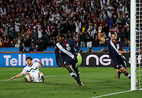 Maurice Edu of USA looks shocked that his goal is ruled offside, although Clint Dempsey celebrates the goal