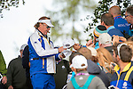 Vice Captain Miguel Angel Jimenez signs autographs for fans during a practice session at Gleneagles Golf Course, Perthshire. Photo credit should read: Kenny Smith/Press Association Images.