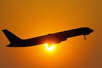 - airport of Milan Linate, airplane in takeoff....- aeroporto di Milano Linate, aereo in decollo