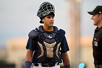 Lakeland Flying Tigers catcher Eduardo Valencia (37) during a game against the Jupiter Hammerheads on July 30, 2021 at Joker Marchant Stadium in Lakeland, Florida.  (Mike Janes/Four Seam Images)