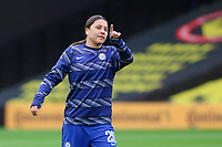 14th March 2021; Vicarage Road, Watford, Herts;  Sam Kerr  20 Chelsea during warm up ahead of the FA Womens Continental Tyres League Cup final game between Bristol City and Chelsea at Vicarage Road Stadium in Watford. FA Womens Continental Tyres Cup Final