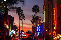 Colorful Universal Studios Hollywood City Walk sunset, with lit-up neon signs and palm tree silhouettes, Los Angeles, California, USA