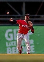 29 July 2018: Batavia Muckdogs infielder Demetrius Sims gets the first out in the bottom of the 8th inning against the Vermont Lake Monsters at Centennial Field in Burlington, Vermont. The Lake Monsters defeated the Muckdogs 4-1 in NY Penn League action. Mandatory Credit: Ed Wolfstein Photo *** RAW (NEF) Image File Available ***