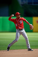 Washington Nationals Jose Sanchez (8) throws to first base during a Florida Instructional League game against the Miami Marlins on September 26, 2018 at the Marlins Park in Miami, Florida.  (Mike Janes/Four Seam Images)
