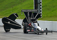 Jun 20, 2015; Bristol, TN, USA; NHRA top fuel driver Cory McClenathan during qualifying for the Thunder Valley Nationals at Bristol Dragway. Mandatory Credit: Mark J. Rebilas-