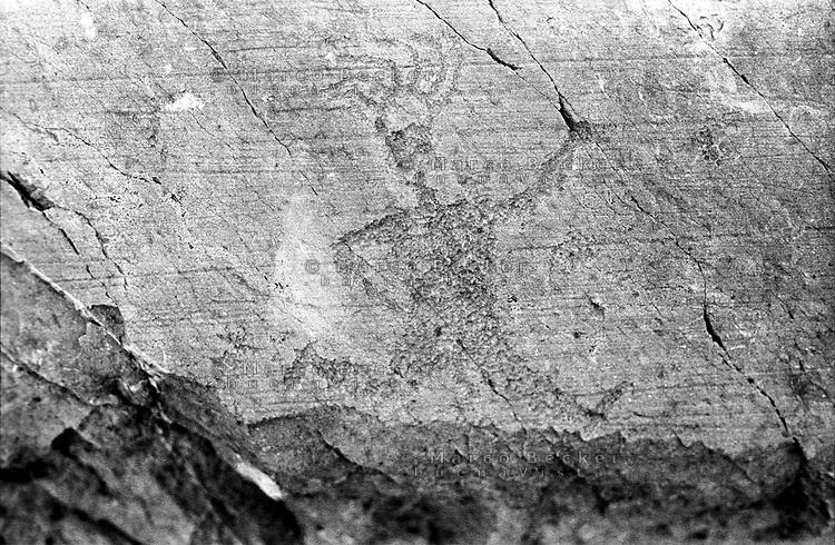 Capo di Ponte (Brescia). Parco nazionale delle incisioni rupestri di Naquane. Sacerdote che corre --- Capo di Ponte (Brescia). The Naquane National Park of Rock Engravings
