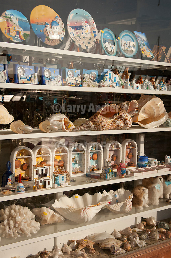 Souvenir plates, shells, gifts for sale in shop window, Ermoupoli, Syros, Cycledes, Greece