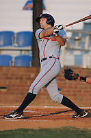 Danville Braves Joe Leonard at Howard Johnson Field in Johnson City, Tennessee July 6, 2010.   Johnson City won the game 6-5.  Photo By Tony Farlow/Four Seam Images