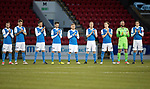 St Johnstone v Hamilton Accies…28.03.18…  McDiarmid Park    SPFL<br />The saints payers join in a minutes applause in memory of Alex Rennie<br />Picture by Graeme Hart. <br />Copyright Perthshire Picture Agency<br />Tel: 01738 623350  Mobile: 07990 594431