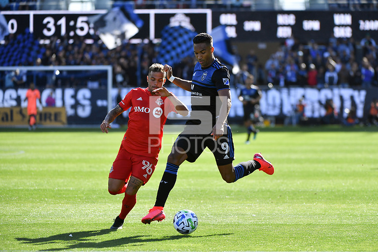 SAN JOSE, CA - FEBRUARY 29: Danny Hoesen #9 of the San Jose Earthquakes is marked by Auro Jr. #96 of Toronto FC during a game between Toronto FC and San Jose Earthquakes at Earthquakes Stadium on February 29, 2020 in San Jose, California.