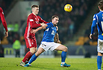 St Johnstone v Aberdeen…..24.11.19   McDiarmid Park   SPFL<br />Chris Kane is fouled by Lewis Ferguson<br />Picture by Graeme Hart.<br />Copyright Perthshire Picture Agency<br />Tel: 01738 623350  Mobile: 07990 594431