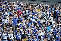 BOGOTA - COLOMBIA -15 -05-2016: Hinchas de Millonarios, animan a su equipo, durante partido entre La Equidad y Millonarios, por la fecha 18 de la Liga Aguila I-2016, jugado en el estadio Nemesio Camacho El Campin de la ciudad de Bogota. / Fans of Millonarios, cheer for their team during a match La Equidad and Millonarios, for the  date 18 of the Liga Aguila I-2016 at the Nemesio Camacho El Campin Stadium in Bogota city, Photo: VizzorImage  / Luis Ramirez / Staff.