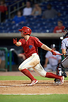 Clearwater Threshers third baseman Brian Mims (10) hits an RBI double during a game against the Florida Fire Frogs on June 1, 2018 at Spectrum Field in Clearwater, Florida.  Florida defeated Clearwater 12-10.  (Mike Janes/Four Seam Images)