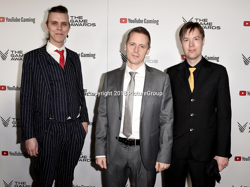 LOS ANGELES - DECEMBER 6: (L-R) Linus Larsson, Matias Snygg and Jens Andersson attend the 2018 Game Awards at the Microsoft Theater on December 6, 2018 in Los Angeles, California. (Photo by Scott Kirkland/PictureGroup)