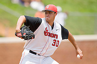 Starting pitcher Sean Hagan #30 of the St. John's Red Storm in action against the VCU Rams at the Charlottesville Regional of the 2010 College World Series at Davenport Field on June 5, 2010, in Charlottesville, Virginia.  The Red Storm defeated the Rams 8-6.  Photo by Brian Westerholt / Four Seam Images