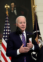 U.S. President Joe Biden replies to questions from reporters after delivering remarks on the March jobs report at the White House in Washington on April 2, 2021. <br /> CAP/MPI/RS<br /> ©RS/MPI/Capital Pictures