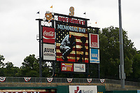 Montgomery Biscuits scoreboard shows a Memorial Day graphic before a game against the Tennessee Smokies on May 25, 2015 at Riverwalk Stadium in Montgomery, Alabama.  Tennessee defeated Montgomery 6-3 as the game was called after eight innings due to rain.  (Mike Janes/Four Seam Images)