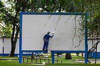 TOGO, Lome, port, seamen´s club of german seamen´s mission, screen for open air cinema / Seemannsclub der deutschen Seemannsmission