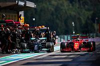 27th August 2021; Spa Francorchamps, Stavelot, Belgium: FIA F1 Grand Prix of Belgium, free practise:   HAMILTON Lewis gbr, Mercedes AMG F1 GP W12 E Performance, SAINZ Carlspa, Scuderia Ferrari SF21, action in the pitlane